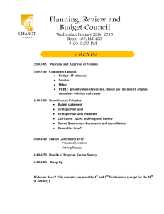 Planning, Review and Budget Council A G E N D A