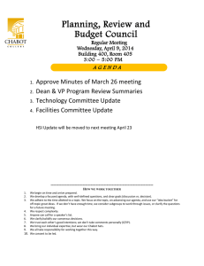 Planning, Review and Budget Council