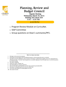 Planning, Review and Budget Council Program Review Module on CurricuNet. SSSP Committee