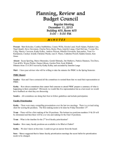 Planning, Review and Budget Council M I N U T E S