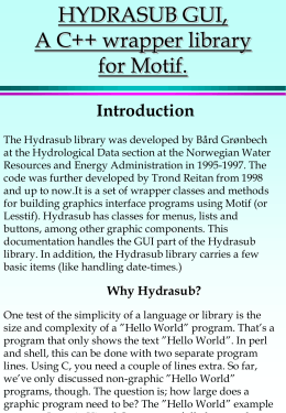HYDRASUB GUI, A C++ wrapper library for Motif. Introduction