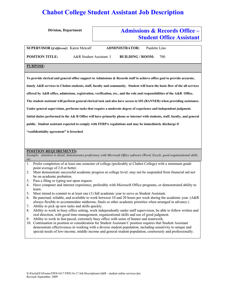 chabot college student assistant job description admissions records office. Resume Example. Resume CV Cover Letter
