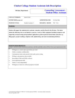 chabot college student assistant job description counseling assessment student office assistant - Office Assistant Job Description