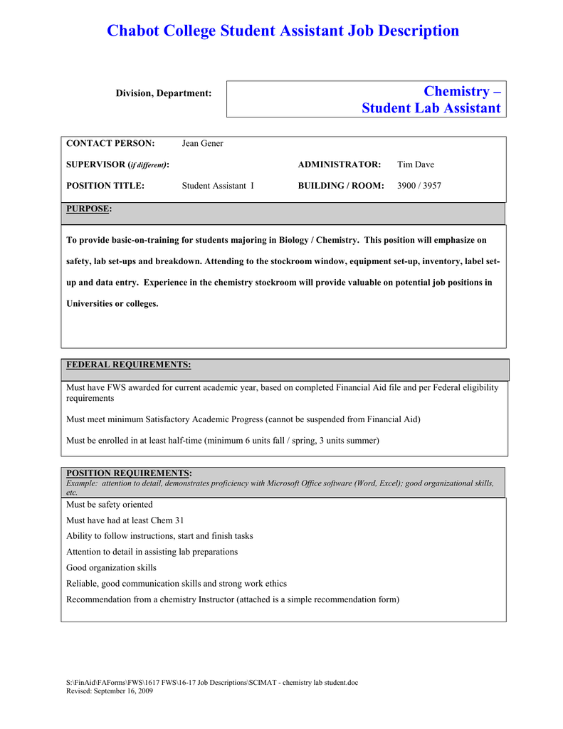 Chabot College Student Assistant Job Description Chemistry ...