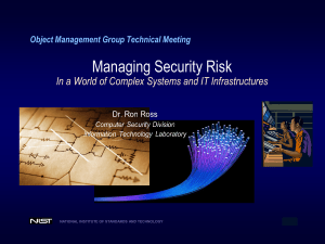 Managing Security Risk  Object Management Group Technical Meeting