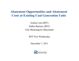 Abatement Opportunities and Abatement Costs at Existing Coal Generation Units