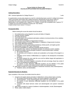 Chabot College Fall 2010  22B - Calculus Application for College Physics II