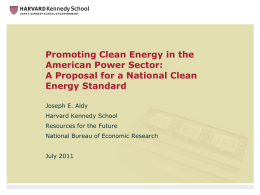 Promoting Clean Energy in the American Power Sector: Energy Standard
