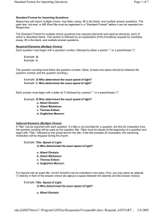Page 1 of 7 Standard Format for Importing Questions