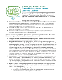 Green Holiday Open House: Lessons Learned PRACTICAL WAYS TO CREATE MEANING