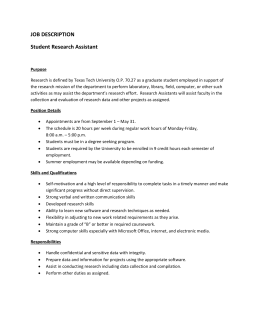 JOB DESCRIPTION Student Research Assistant