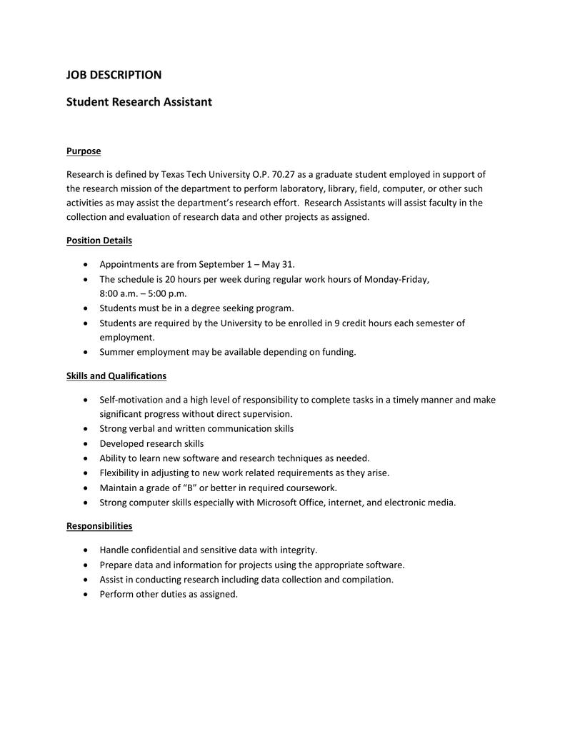 graduate research assistant job description