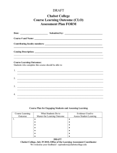 DRAFT Chabot College Course Learning Outcome (CLO) Assessment Plan FORM