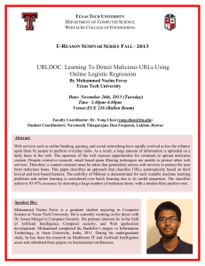 URLDOC: Learning To Detect Malicious URLs Using Online Logistic Regression  U-R