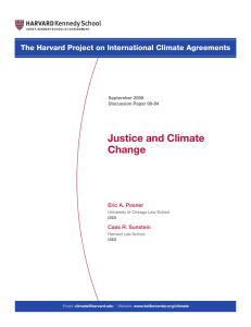Justice and Climate Change The Harvard Project on International Climate Agreements