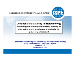 Contract Manufacturing in Biotechnology