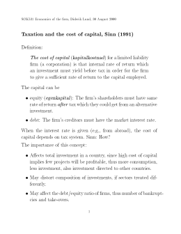 Taxation and the cost of capital, Sinn (1991) kapitalkostnad