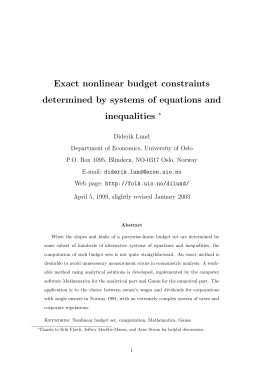 Exact nonlinear budget constraints determined by systems of equations and inequalities