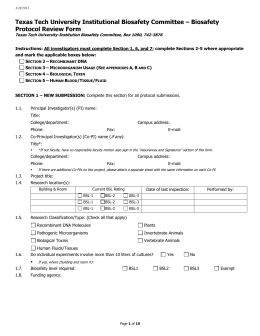 Texas Tech University Institutional Biosafety Committee – Biosafety Protocol Review Form
