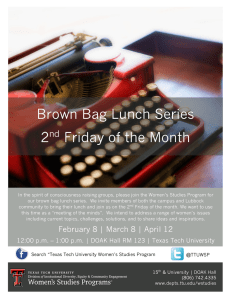 Brown Bag Lunch Series 2 Friday of the Month