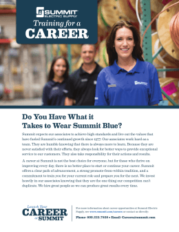 CAREER Training for a Do You Have What it