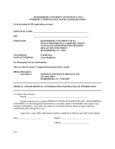BLOOMSBURG UNIVERSITY OF PENNSYLVANIA WORKERS' COMPENSATION INJURY EXPOSURE FORM