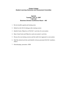 Chabot College Student Learning Outcomes and Assessment Committee  Agenda