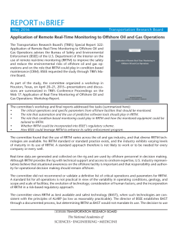 REPORT BRIEF IN Application of Remote Real-Time Monitoring to Off shore Oil and...
