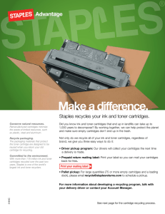 Make a difference. Staples recycles your ink and toner cartridges.