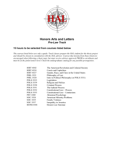 Honors Arts and Letters Pre-Law Track