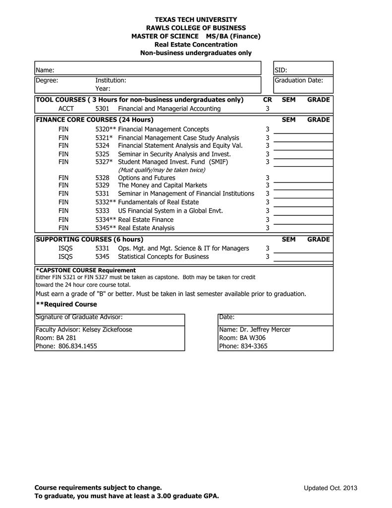 texas tech marketing degree plan