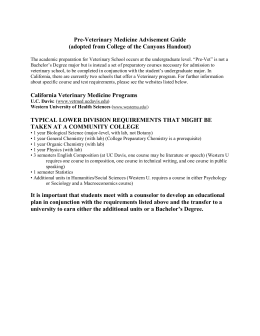 Pre-Veterinary Medicine Advisement Guide (adopted from College of the Canyons Handout)