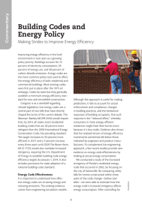 Building Codes and Energy Policy Making Strides to Improve Energy Efficiency Commentary