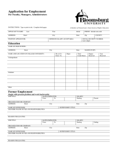 Application for Employment  For Faculty, Managers, Administrators