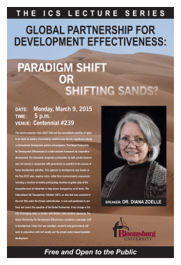 GLOBAL PARTNERSHIP FOR DEVELOPMENT EFFECTIVENESS: Monday, March 9, 2015