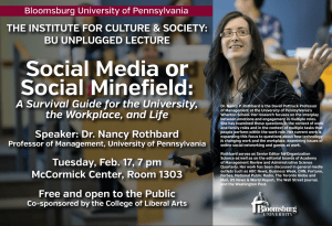 Social Media or Social M inefield: A Survival Guide for the University,