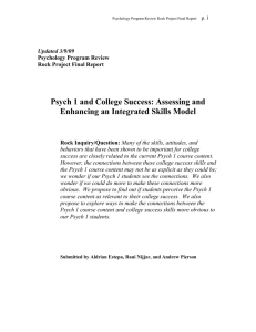 Psych 1 and College Success: Assessing and