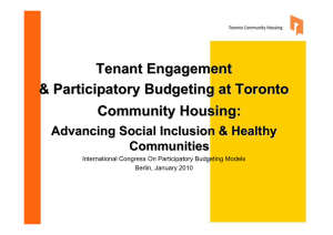 Tenant Engagement & Participatory Budgeting at Toronto Community Housing: