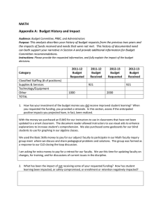 MATH Appendix A:  Budget History and Impact