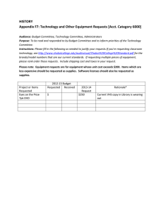 HISTORY Appendix F7: Technology and Other Equipment Requests [Acct. Category 6000]