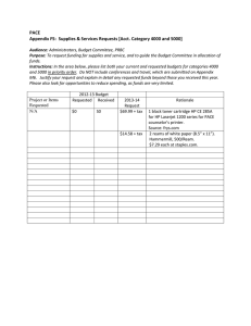 PACE Appendix F5:  Supplies & Services Requests [Acct. Category 4000...