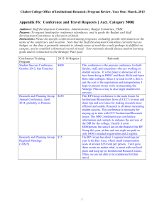 Appendix F6:  Conference and Travel Requests [ Acct. Category... Chabot College Office of Institutional Research: Program Review, Year One:...