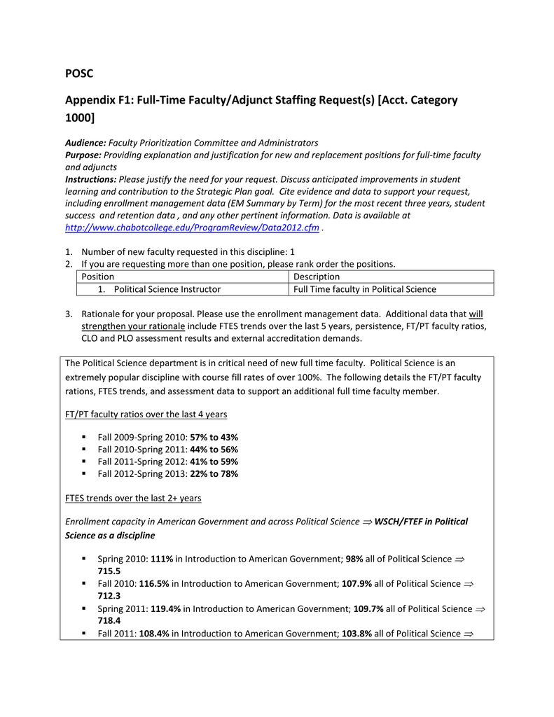 POSC Appendix F1: Full-Time Faculty/Adjunct Staffing Request
