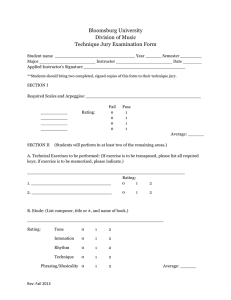 Bloomsburg University Division of Music Technique Jury Examination Form