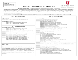 HEALTH COMMUNICATION CERTIFICATE