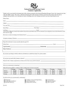 National Ranching Heritage Center Volunteer Application