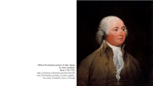 Official Presidential portrait of John Adams by John Trumbull, about 1792-1793.