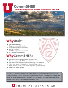 CommSHER Why Utah? Communicating Science, Health, Environment, and Risk