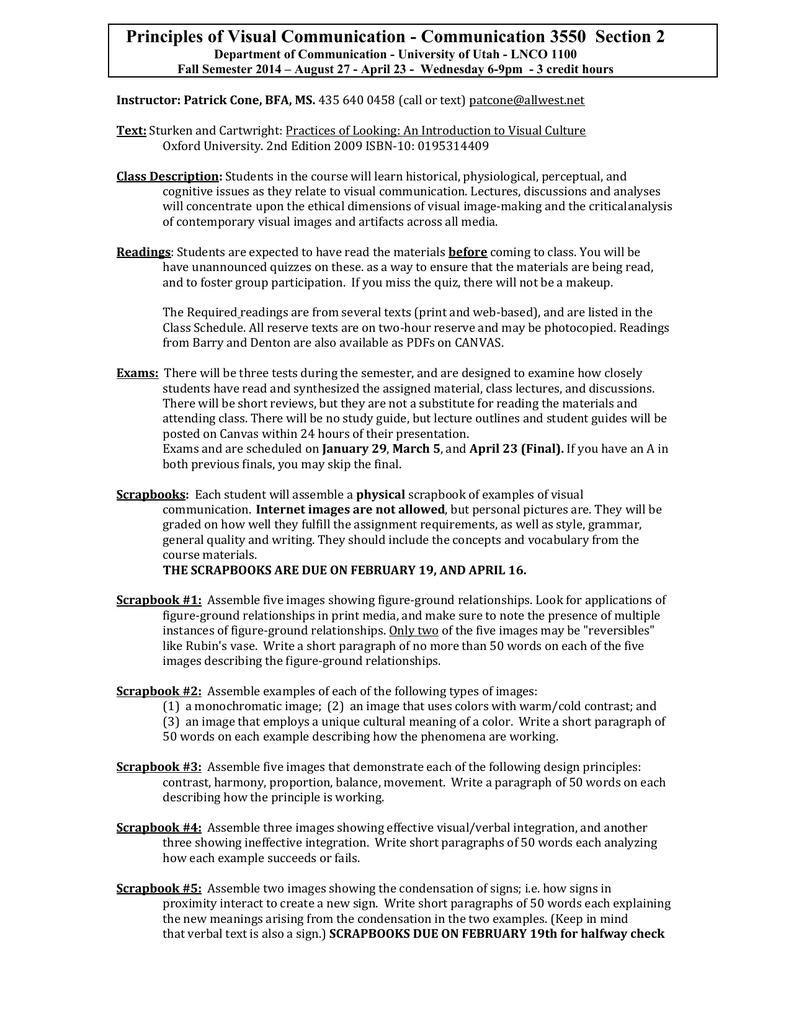 Principles of Visual Communication - Communication 3550 Section 2