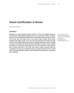 Forest Certification in Russia abstract Maria Tysiachniouk*